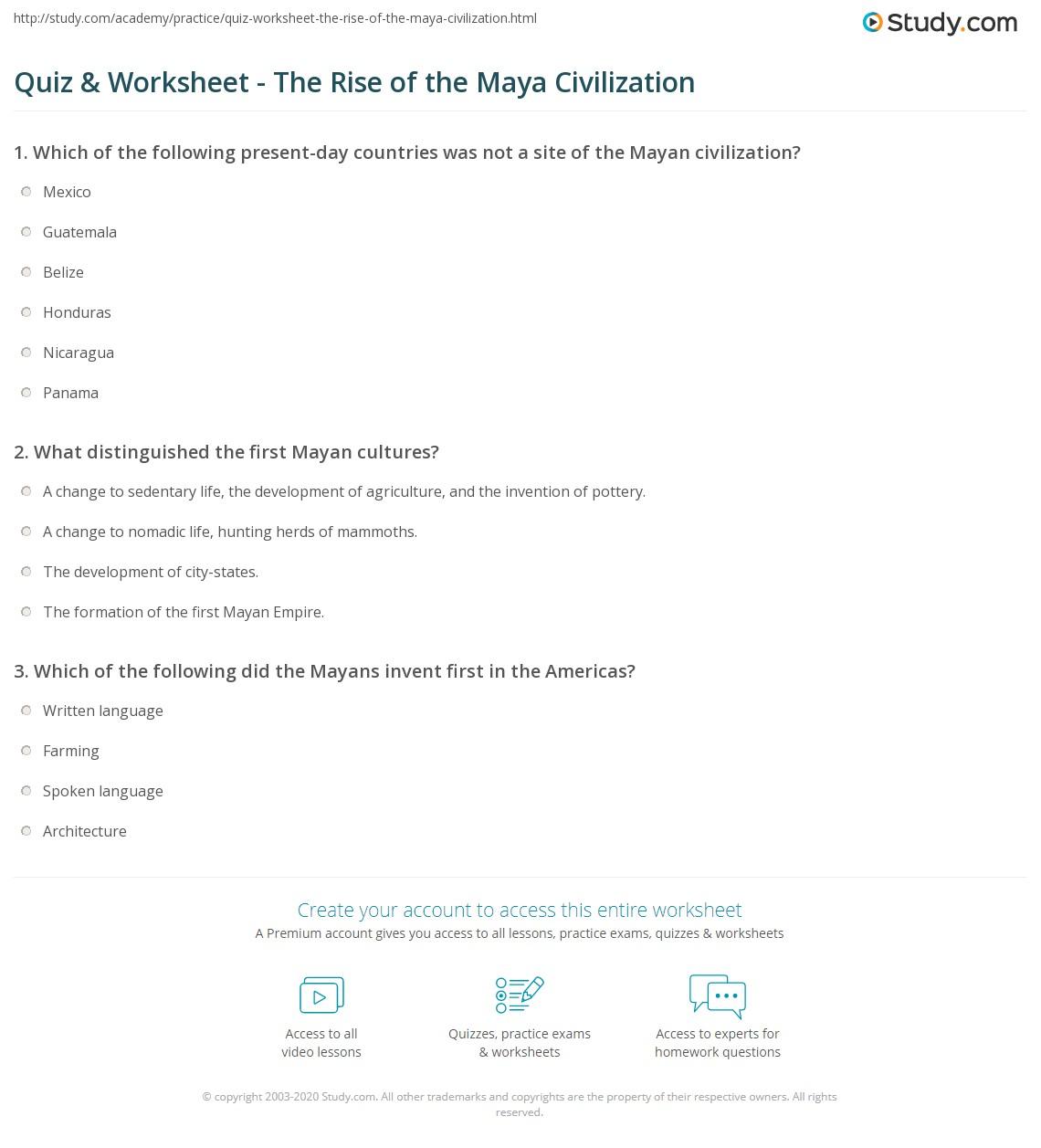 Quiz & Worksheet - The Rise of the Maya Civilization | Study.com