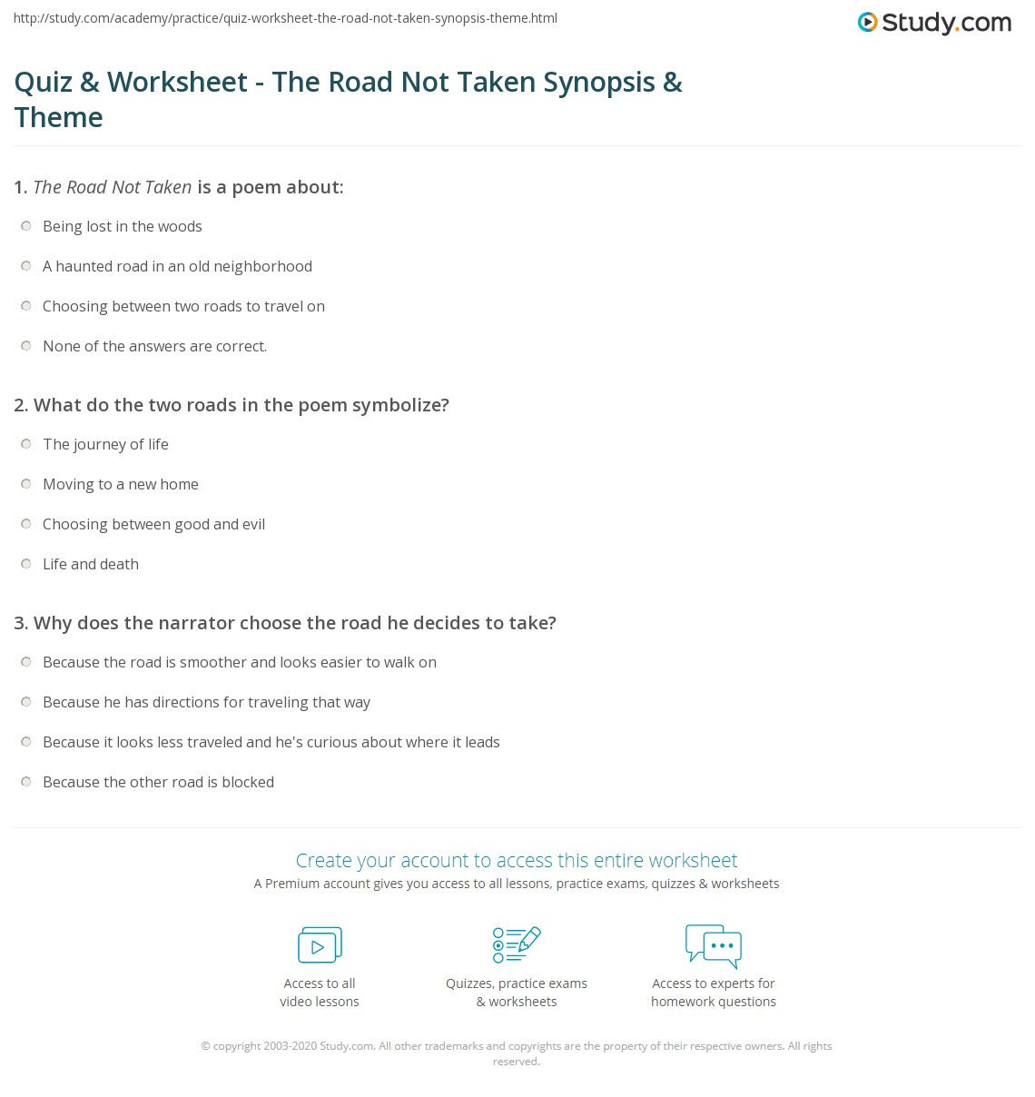Quiz worksheet the road not taken synopsis theme study what do the two roads in the poem symbolize buycottarizona Choice Image