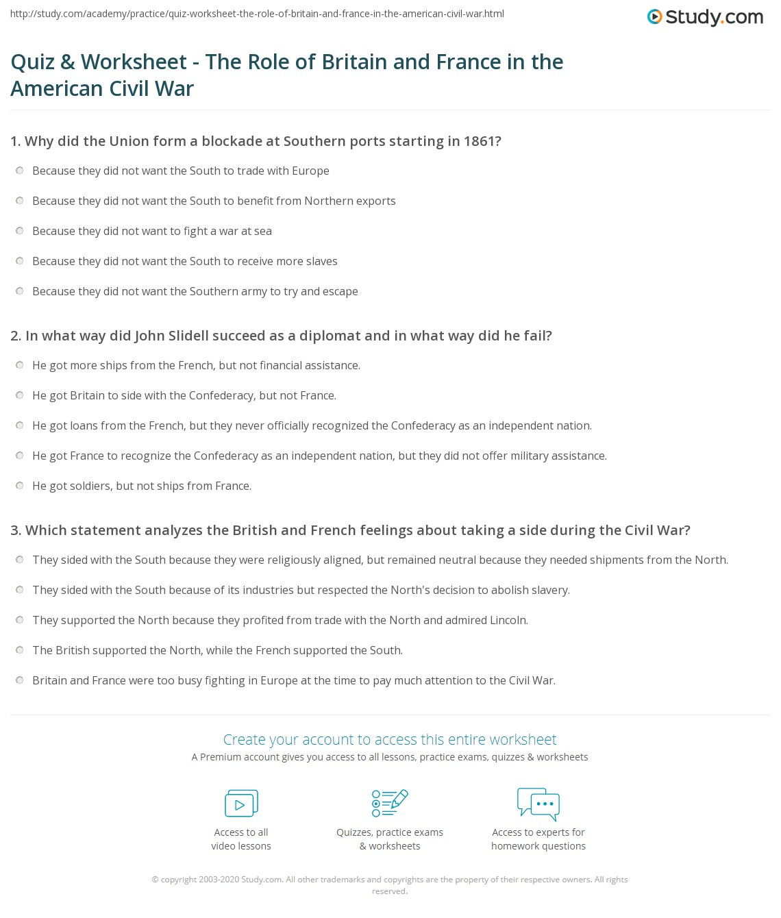 Worksheets Civil War Worksheets quiz worksheet the role of britain and france in american print respond to civil war worksheet