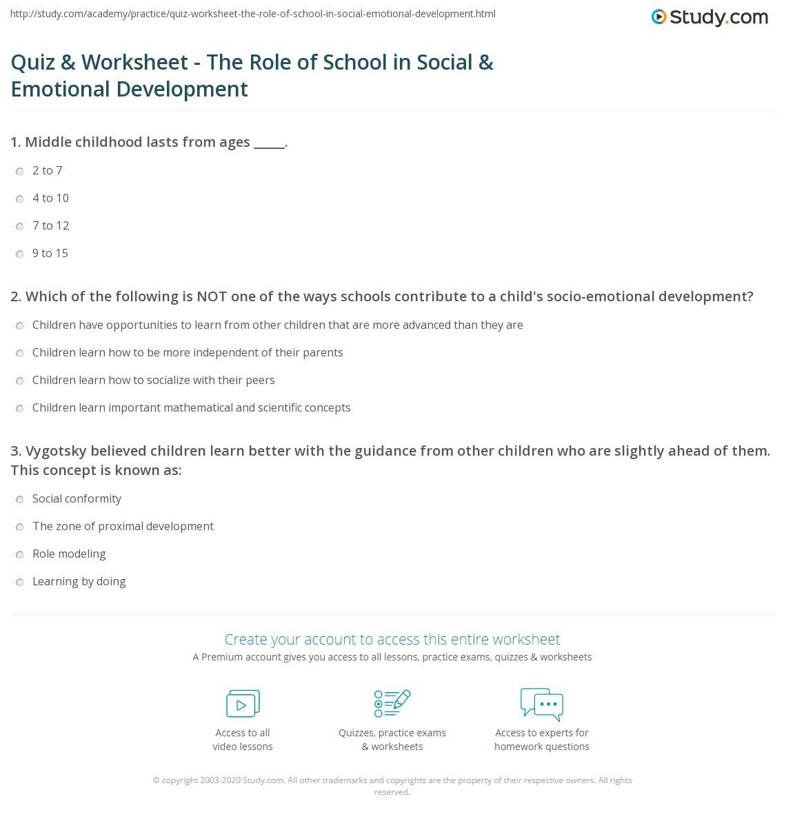 quiz & worksheet - the role of school in social & emotional