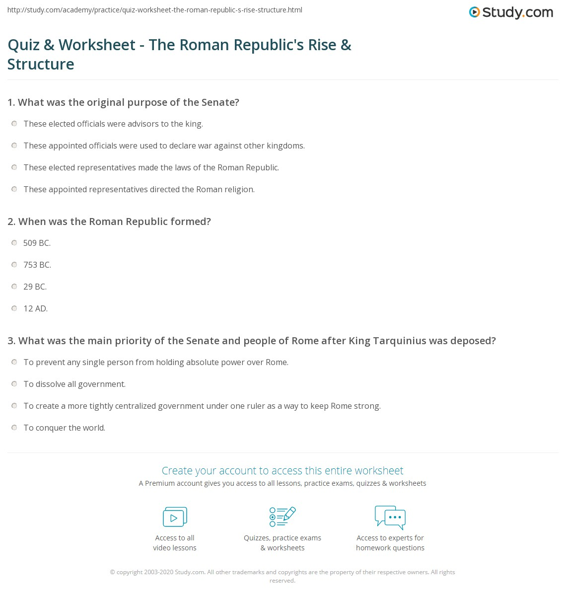 quiz worksheet the roman republic 39 s rise structure. Black Bedroom Furniture Sets. Home Design Ideas