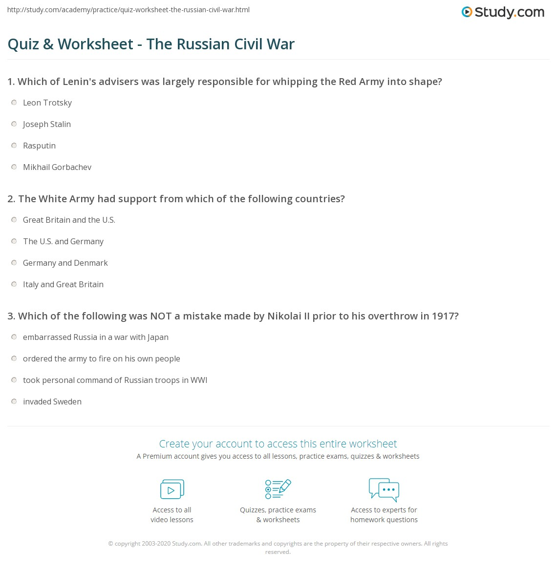 Worksheets Civil War Worksheet quiz worksheet the russian civil war study com print 1918 1921 worksheet