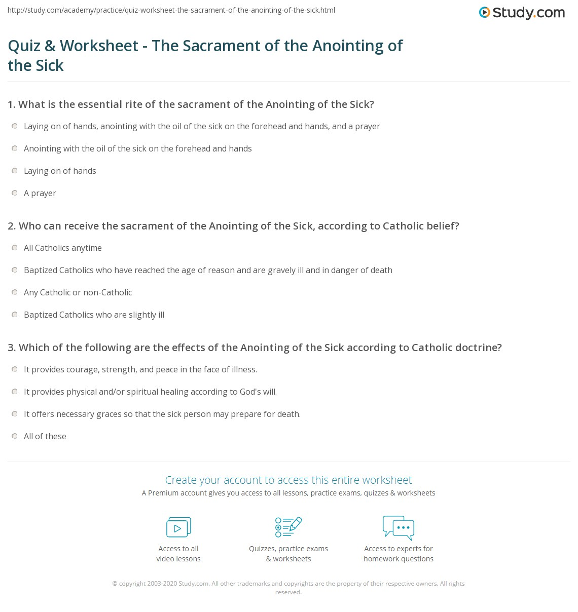 Quiz Worksheet The Sacrament Of The Anointing Of The Sick