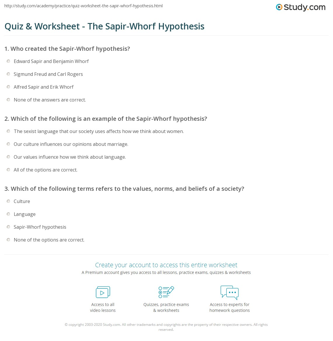 whorfian hypothesis examples