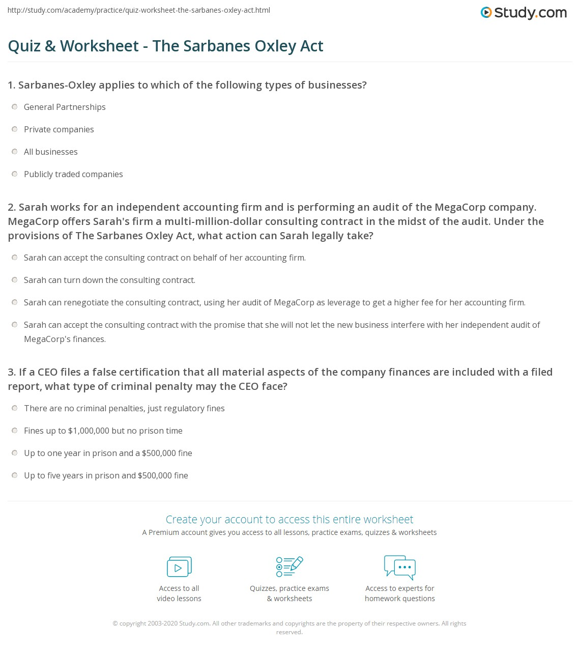 Quiz Worksheet The Sarbanes Oxley Act Study