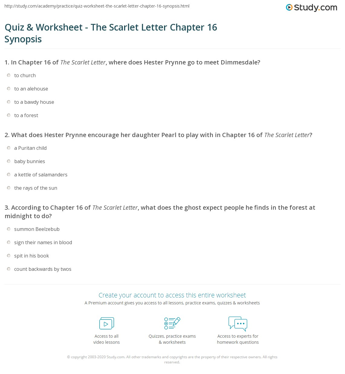 Quiz & Worksheet   The Scarlet Letter Chapter 16 Synopsis | Study.com