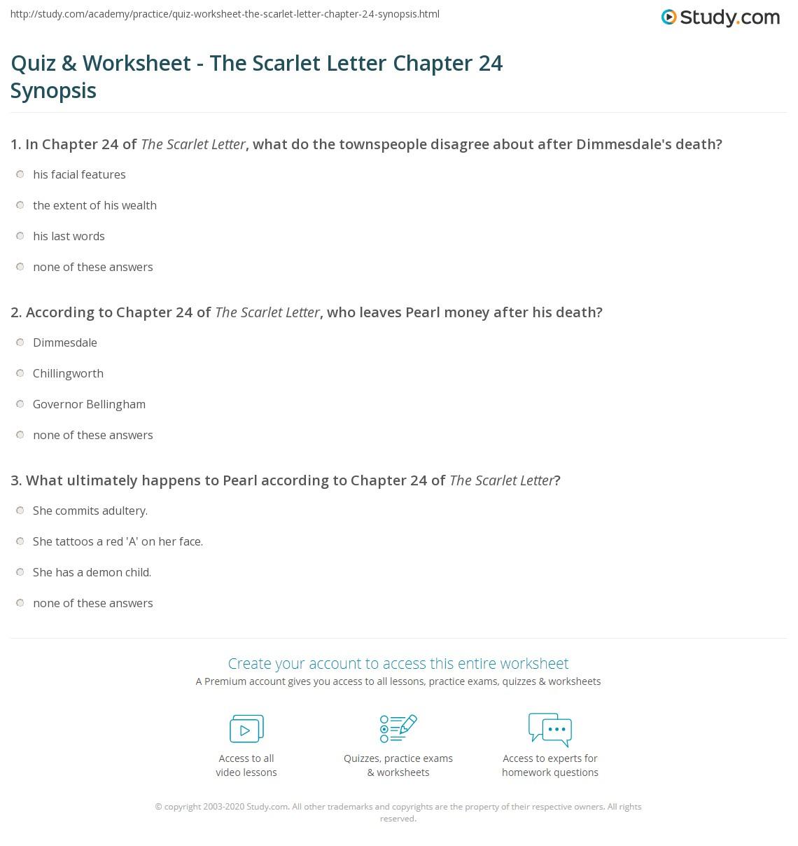 Scarlet Letter Chapter  Quiz