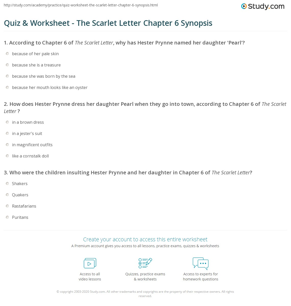The Scarlet Letter Chapters   Comprehension Check Answers