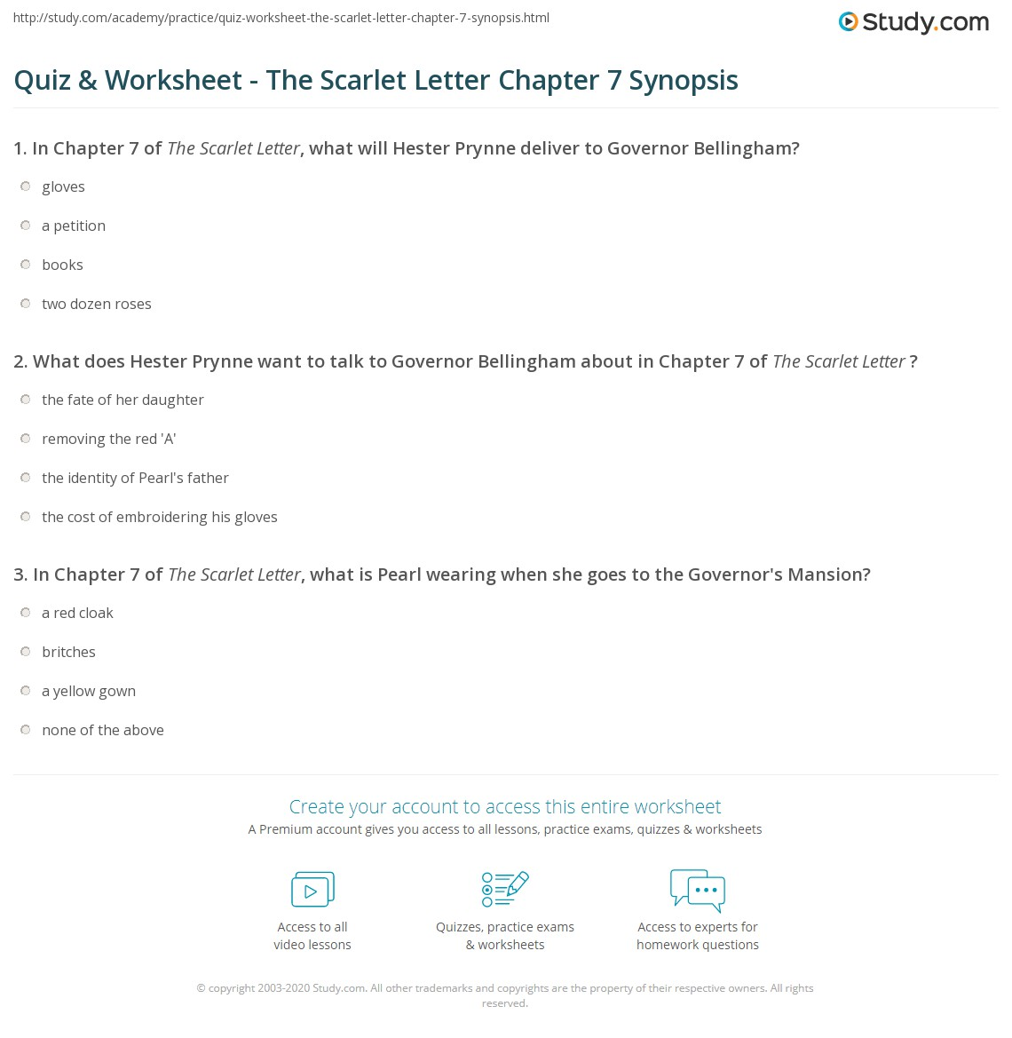 The Scarlet Letter Chapter Quizzes Answers