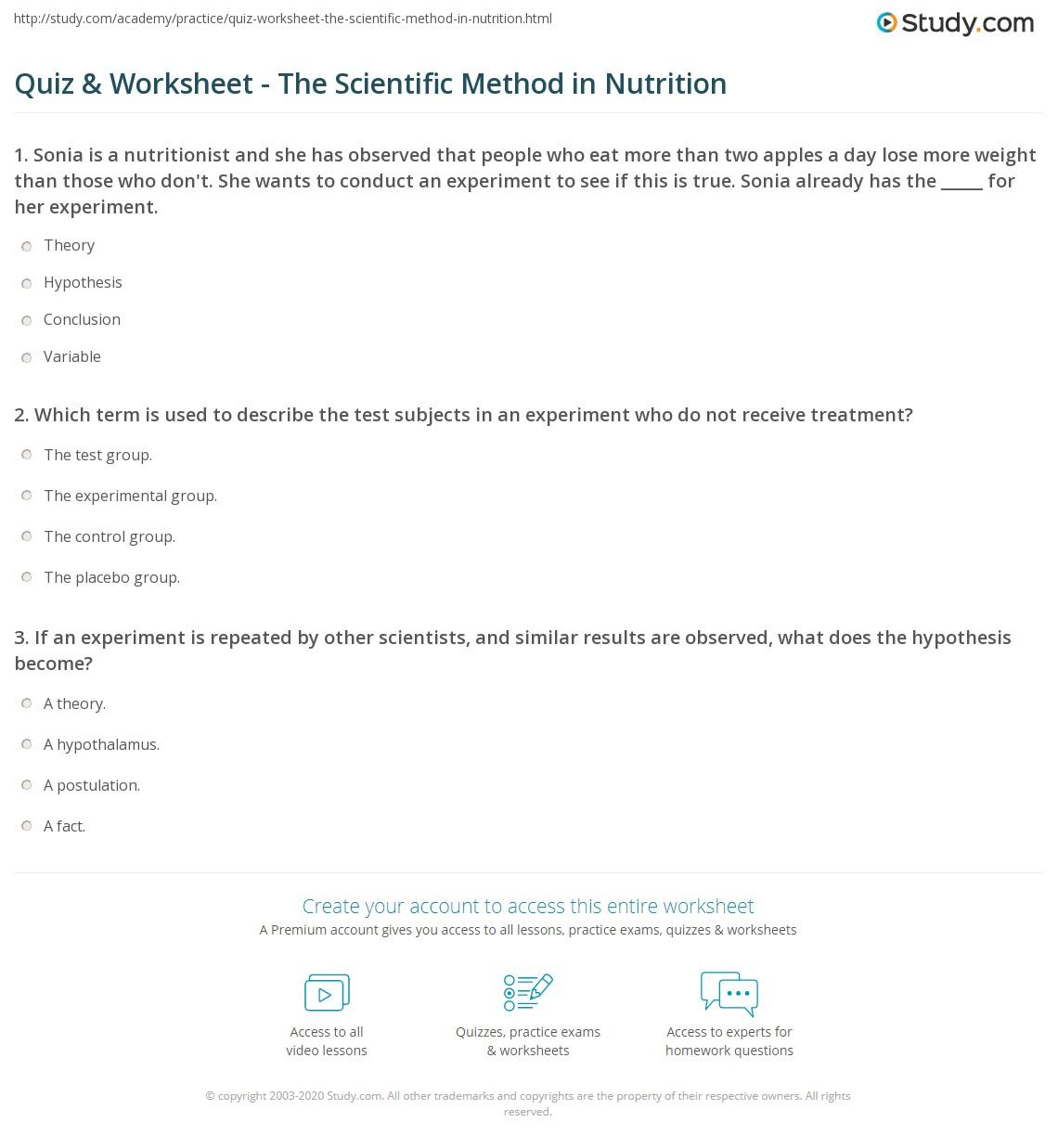 worksheet Scientific Process Worksheet quiz worksheet the scientific method in nutrition study com print using field worksheet