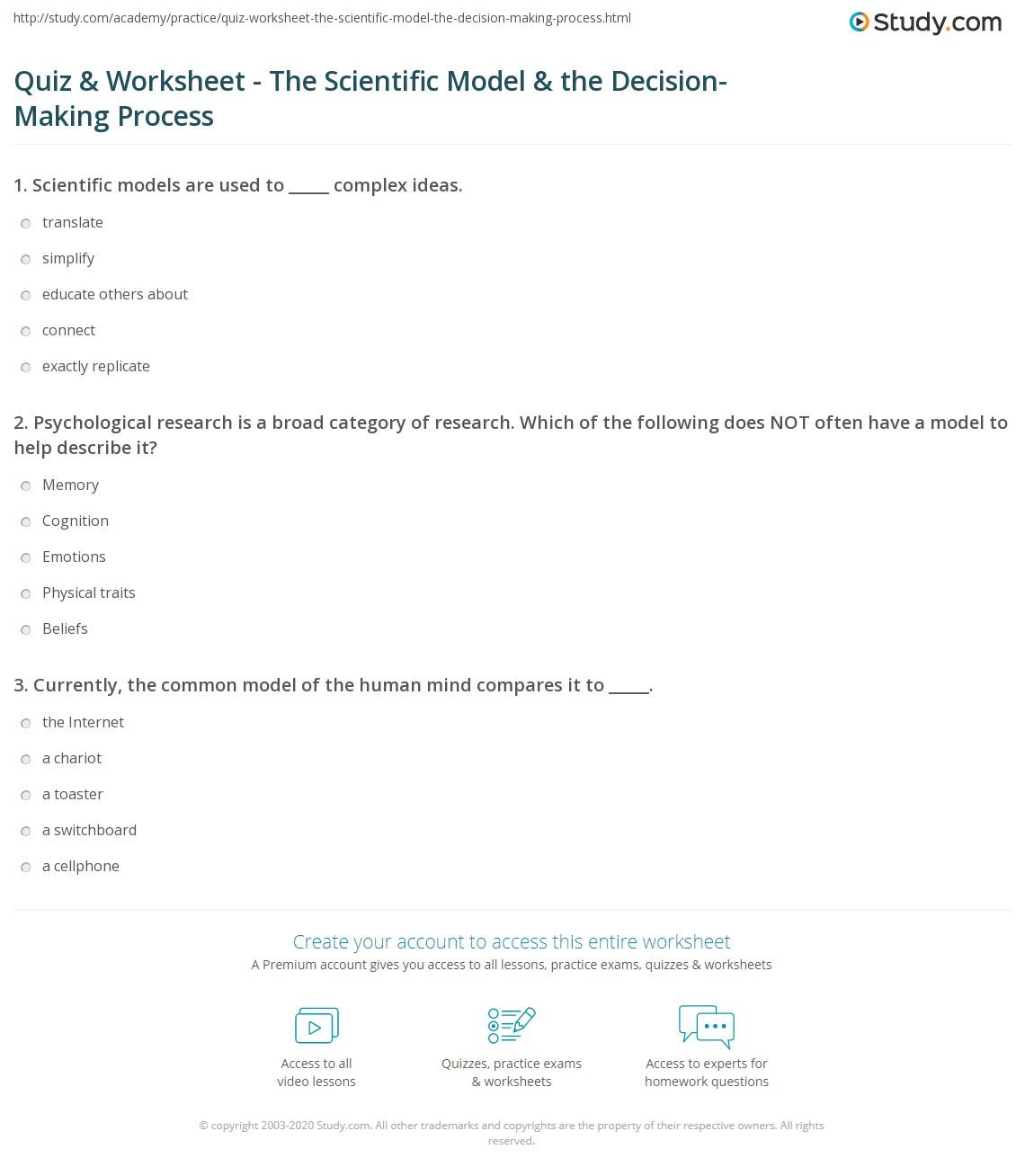 worksheet Science Skills Worksheets quiz worksheet the scientific model decision making print applying to process worksheet