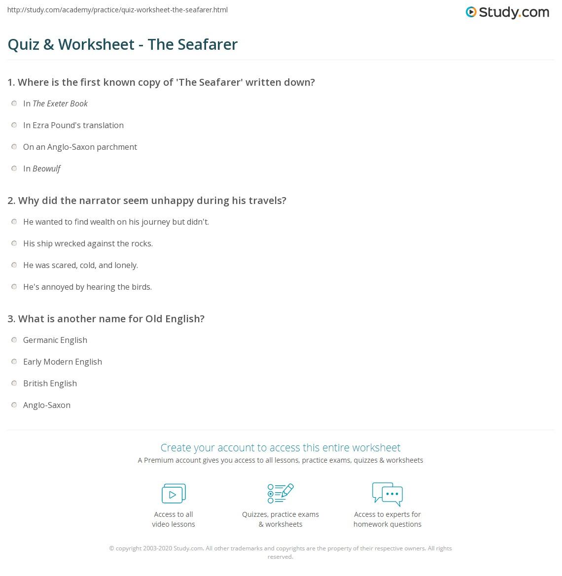 Quiz & Worksheet - The Seafarer  Study.com worksheets for teachers, multiplication, grade worksheets, printable worksheets, and worksheets Anglo Saxon Worksheets 2 1149 x 1140