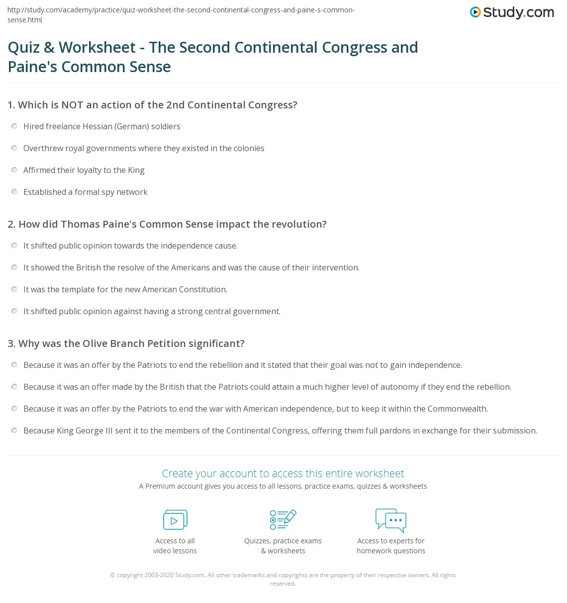 Quiz & Worksheet - The Second Continental Congress and