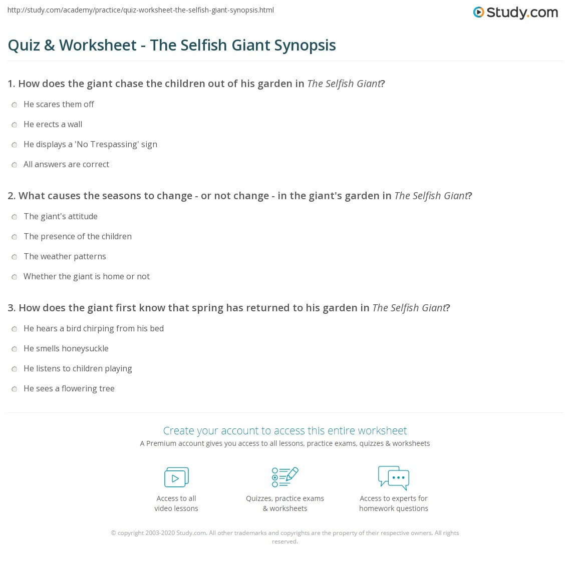 Quiz Worksheet The Selfish Giant Synopsis Study Com