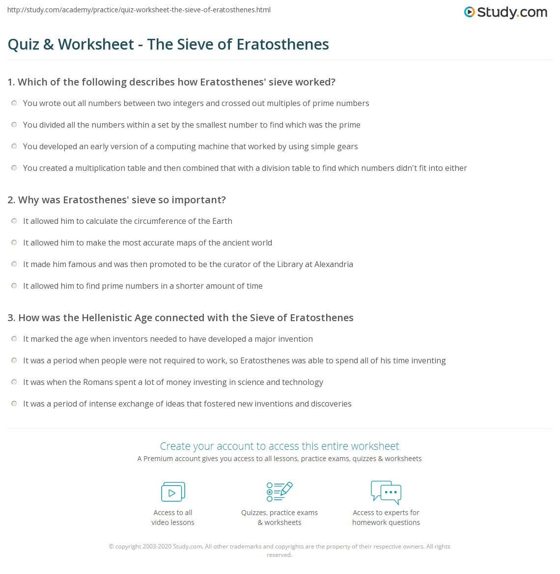Quiz & Worksheet - The Sieve of Eratosthenes | Study.com