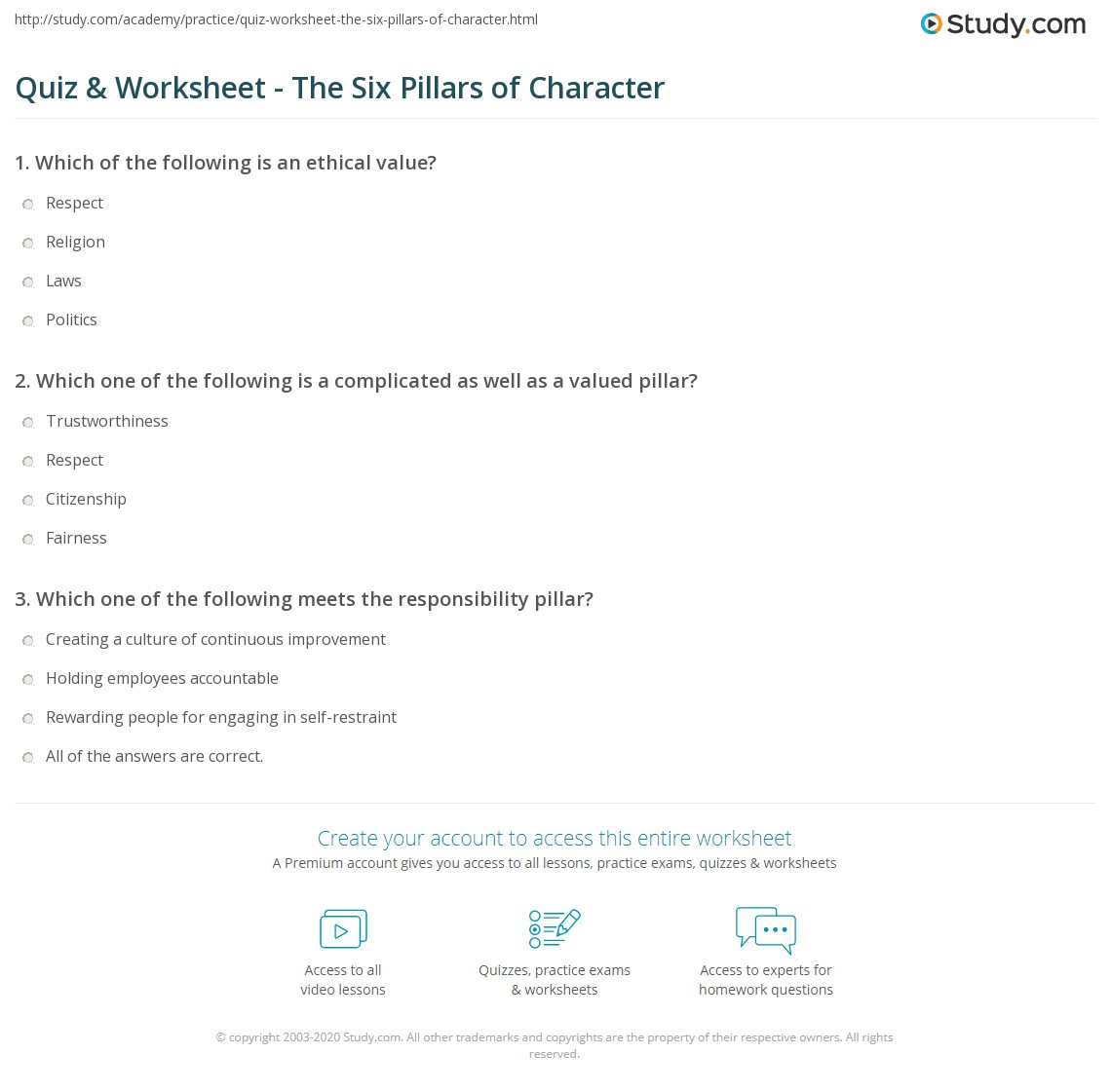 Worksheets Six Pillars Of Character Worksheets quiz worksheet the six pillars of character study com print business ethics worksheet