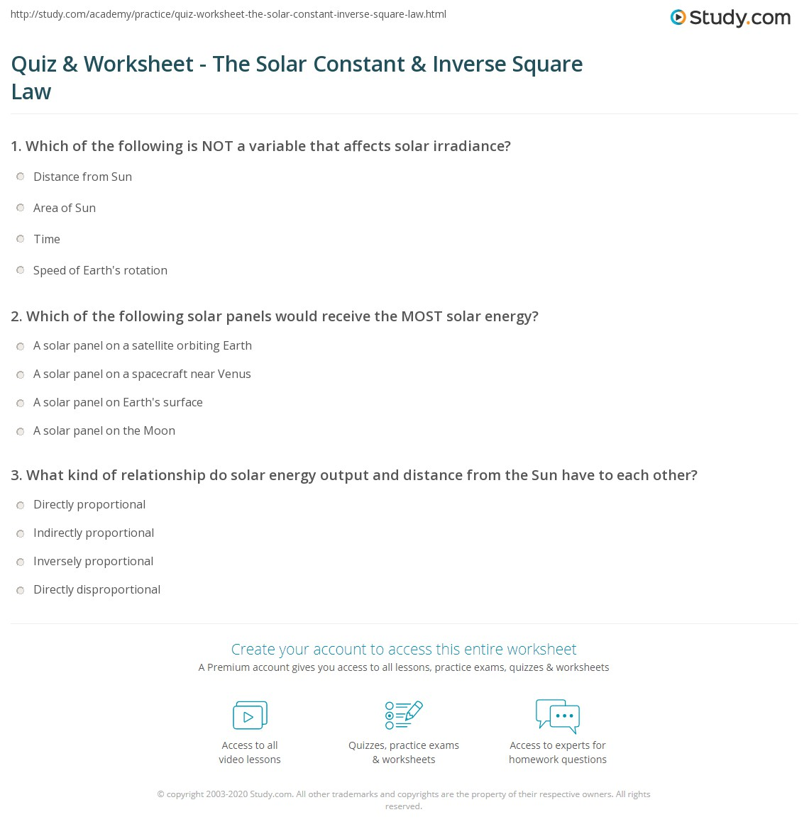 Worksheets Solar Energy Worksheet quiz worksheet the solar constant inverse square law study com which of following panels would receive most energy