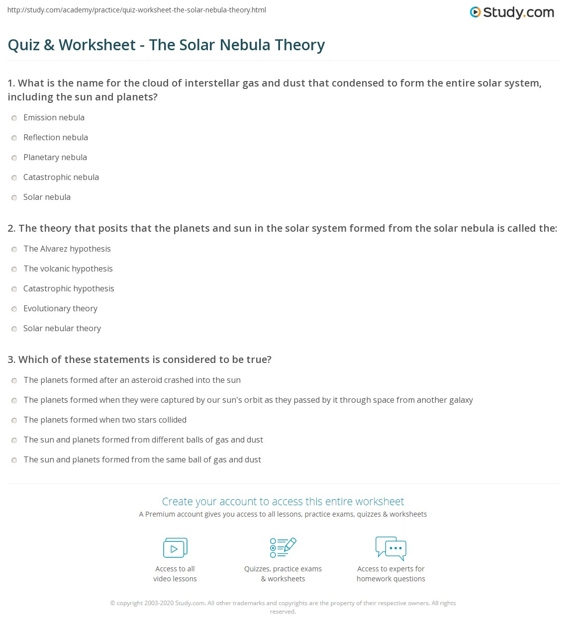 quiz worksheet the solar nebula theory. Black Bedroom Furniture Sets. Home Design Ideas
