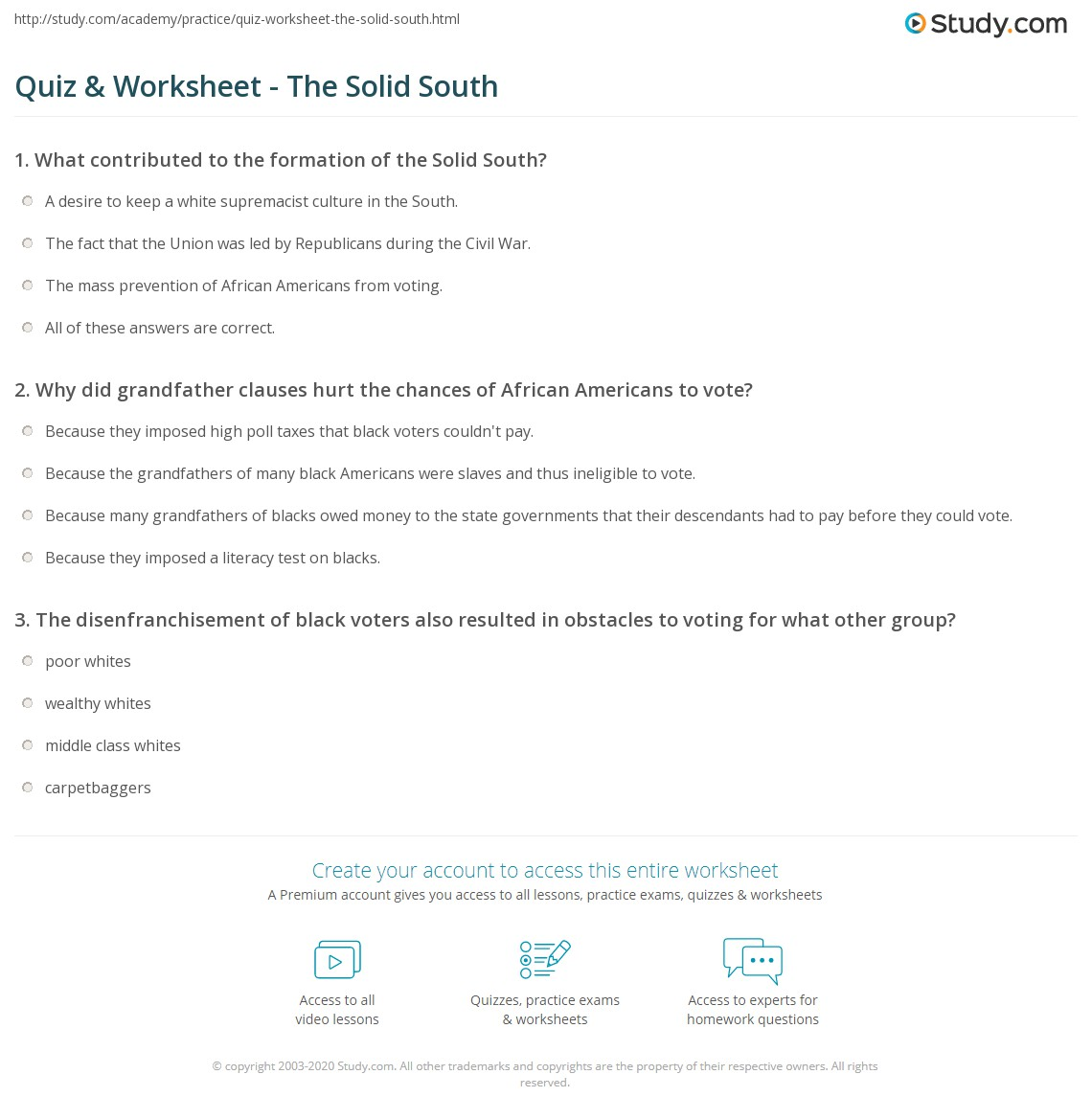 Quiz Worksheet The Solid South Studycom