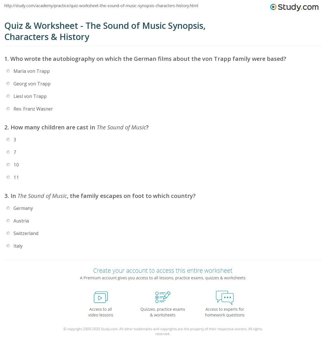 Quiz & Worksheet - The Sound of Music Synopsis, Characters ...