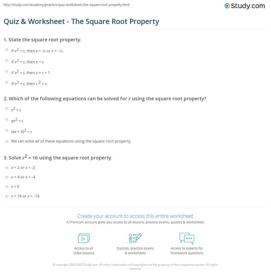 Quiz Worksheet The Square Root Property Study