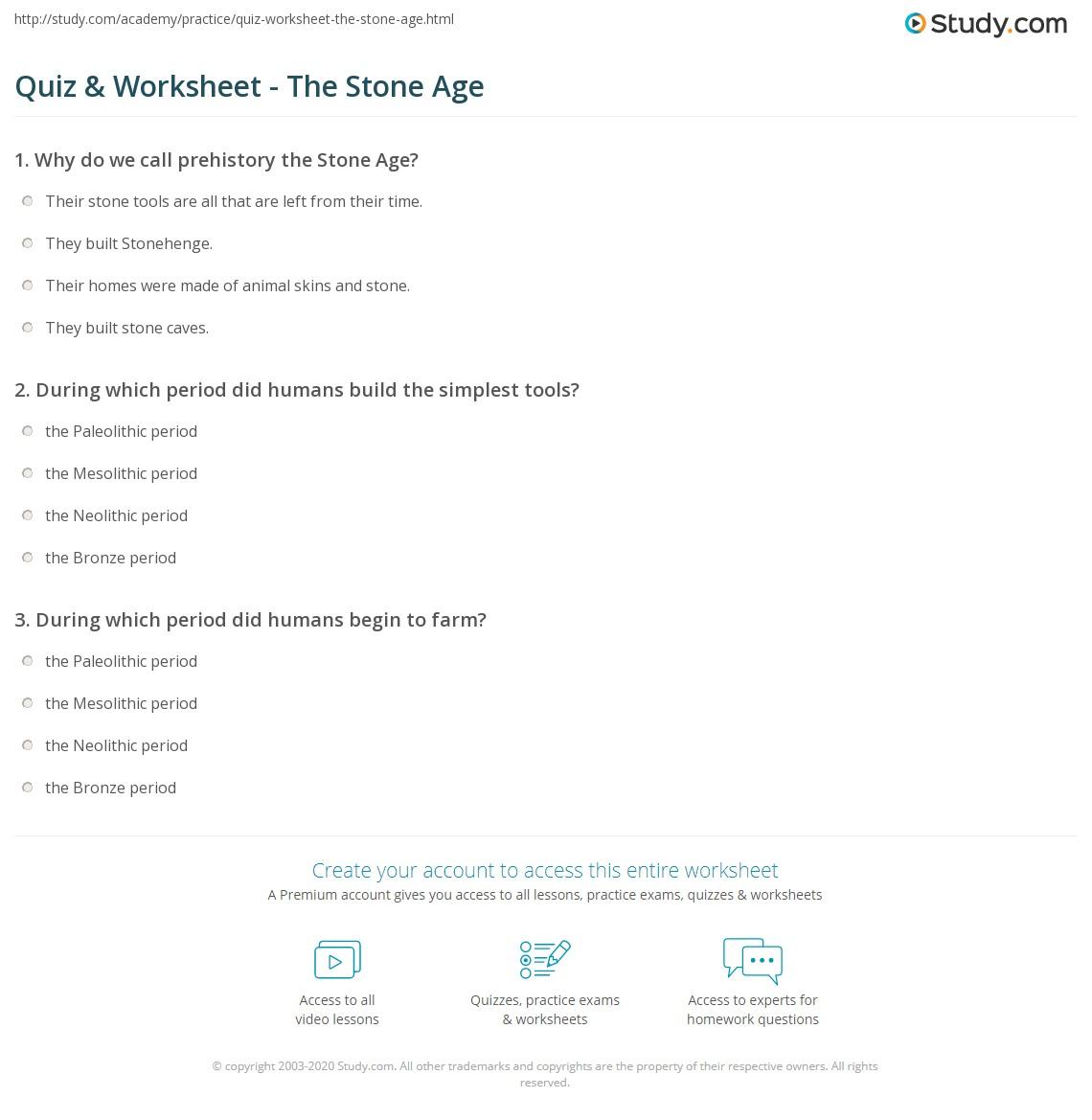 Quiz & Worksheet - The Stone Age | Study.com