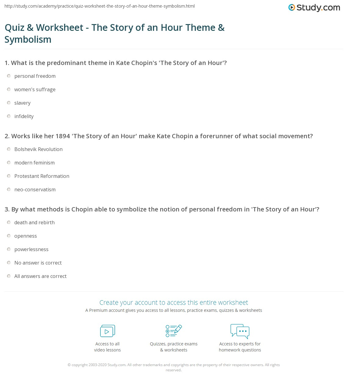 Worksheets Symbolism Worksheets quiz worksheet the story of an hour theme symbolism study com print worksheet