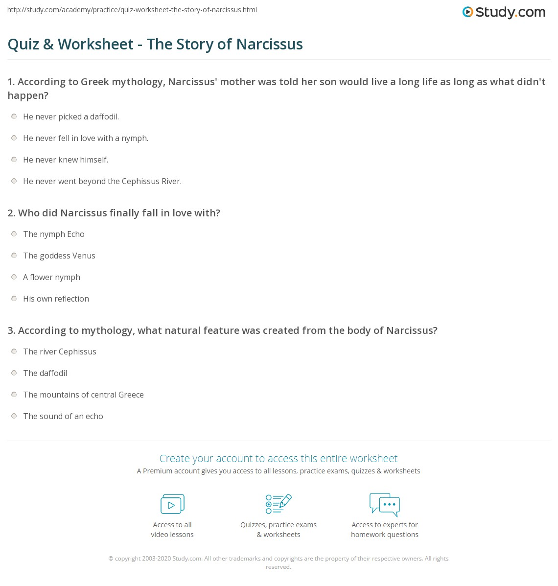 quiz worksheet the story of narcissus com print who was narcissus in greek mythology worksheet