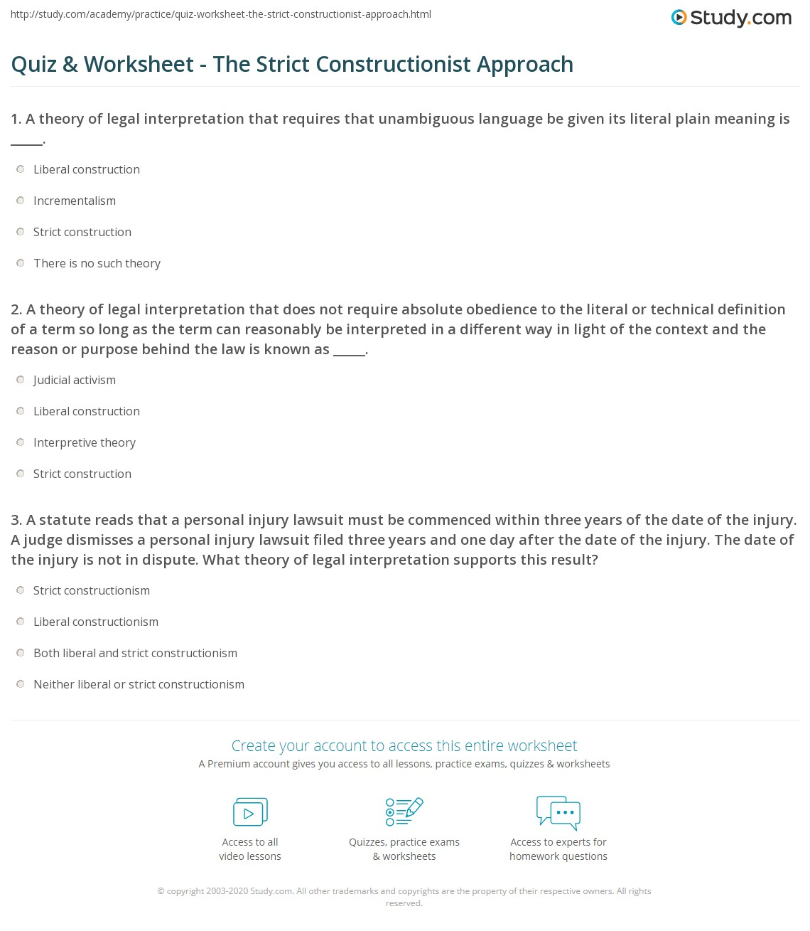 quiz worksheet the strict constructionist approach study com