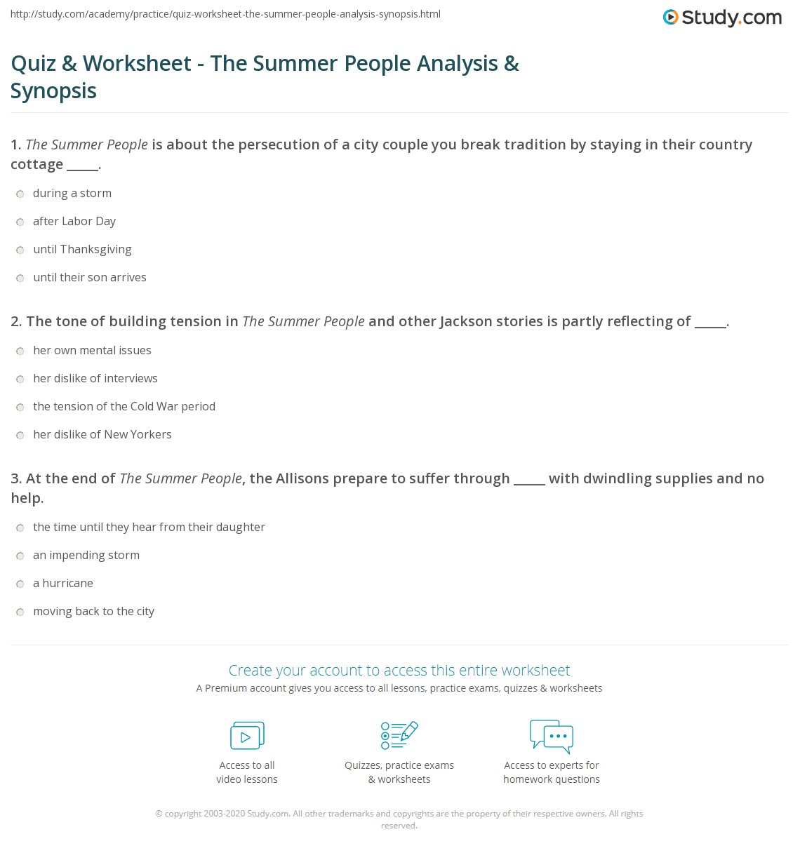 Quiz Worksheet The Summer People Analysis Synopsis Study
