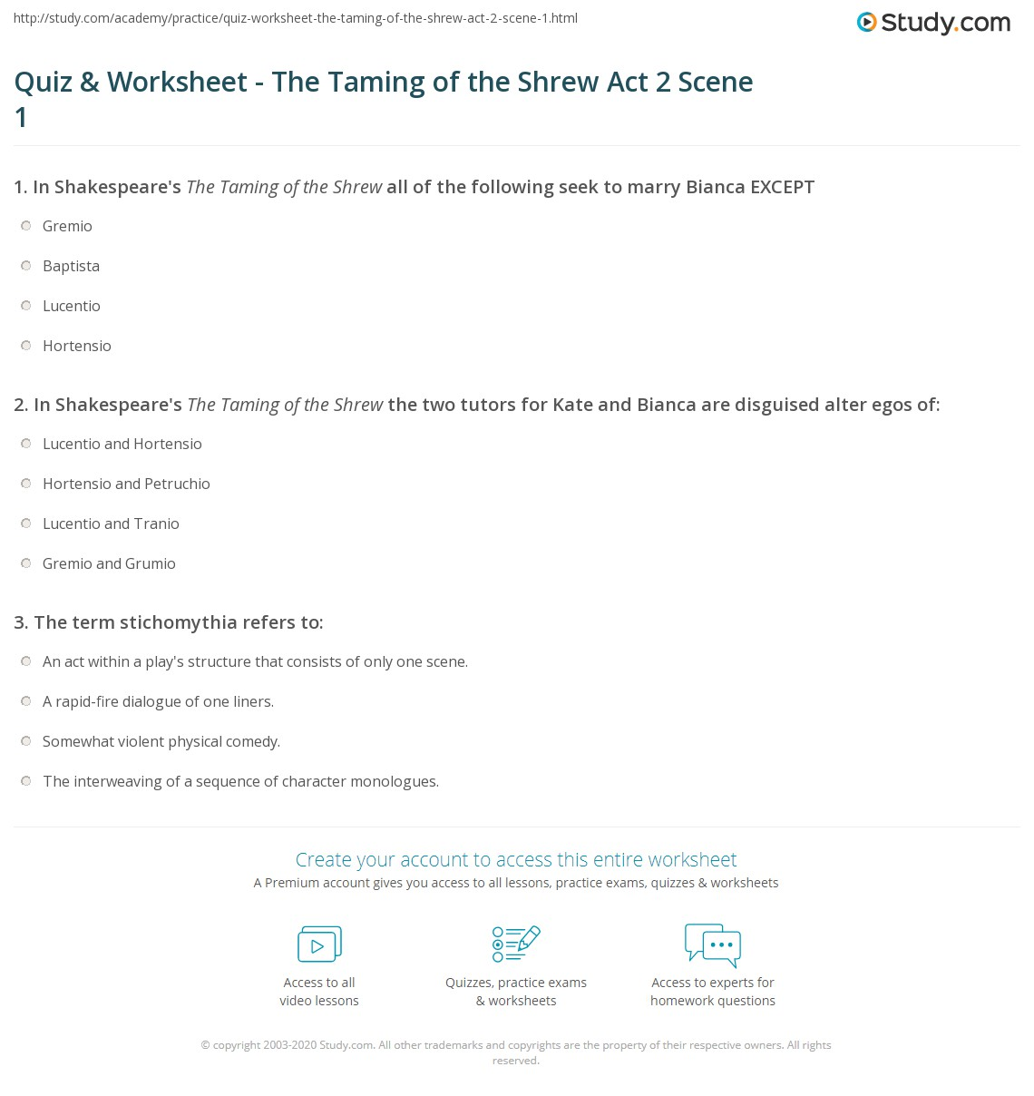 quiz worksheet the taming of the shrew act scene com print the taming of the shrew summary act 2 scene 1 worksheet