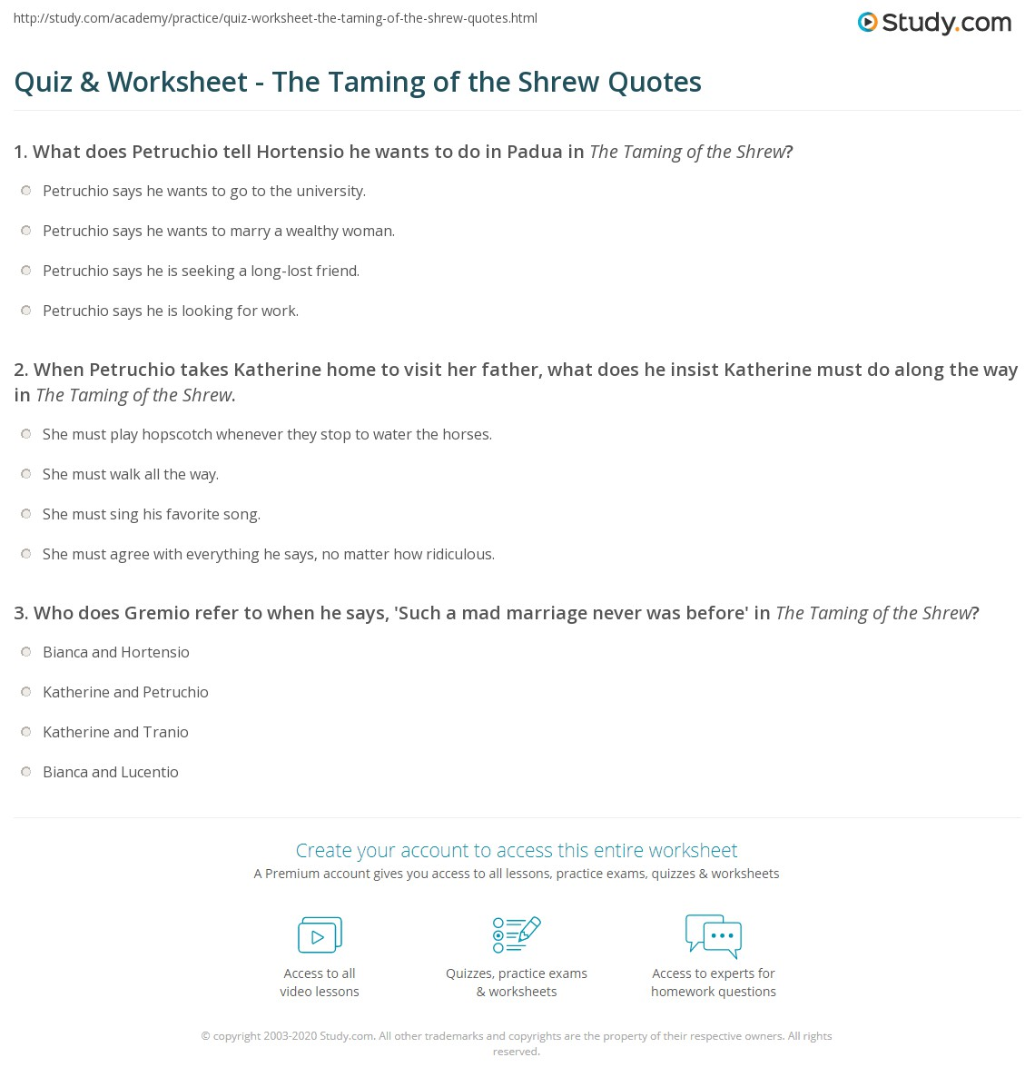 quiz worksheet the taming of the shrew quotes. Black Bedroom Furniture Sets. Home Design Ideas
