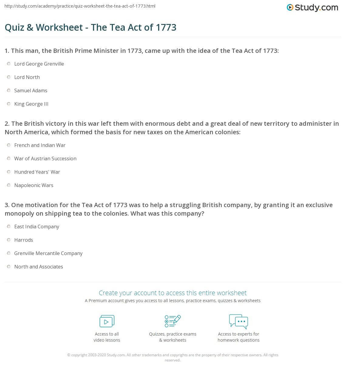 quiz worksheet the tea act of 1773. Black Bedroom Furniture Sets. Home Design Ideas