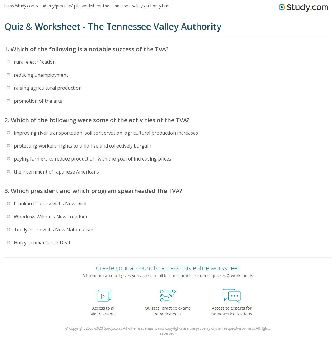 Quiz & Worksheet - The Tennessee Valley Authority | Study.com