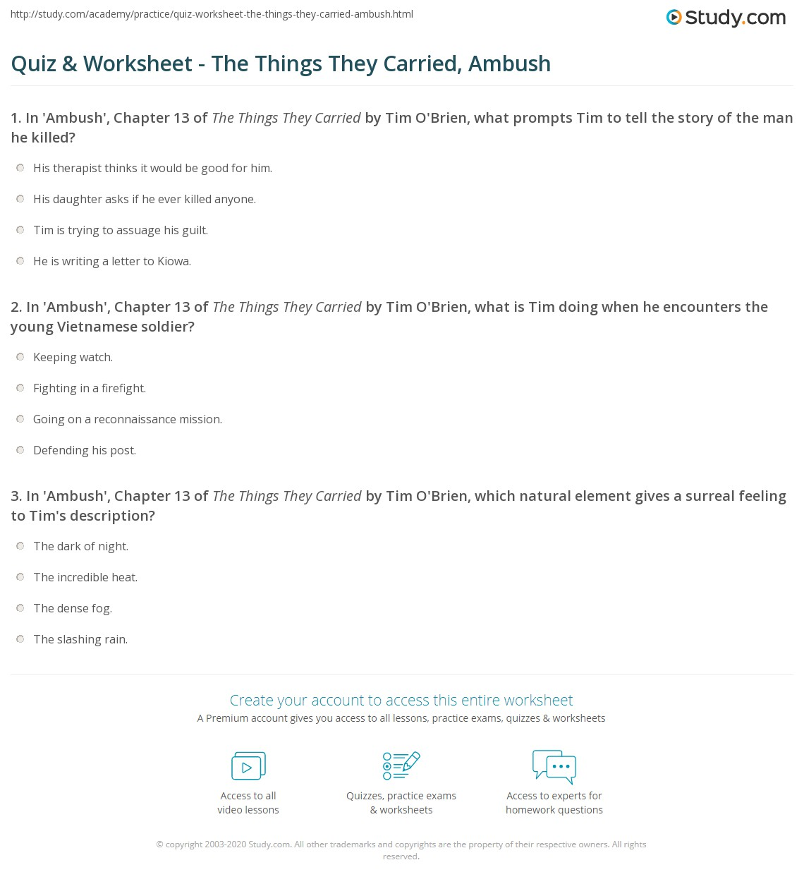 quiz worksheet the things they carried ambush com print the things they carried chapter 13 ambush summary worksheet