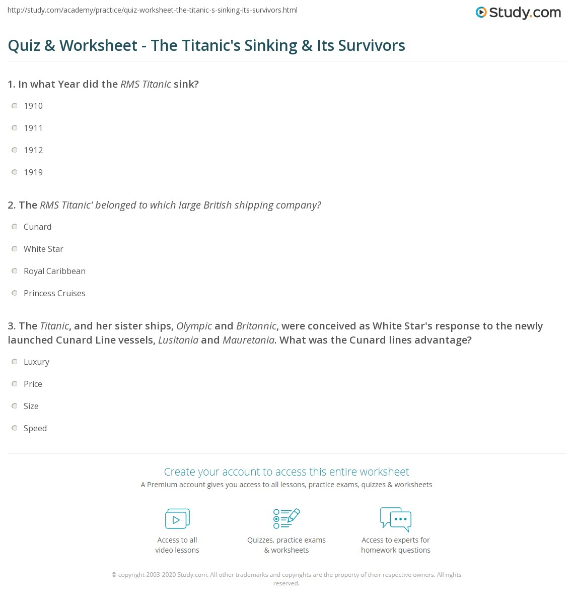 worksheet Titanic Worksheets quiz worksheet the titanics sinking its survivors study com print facts about titanic history worksheet