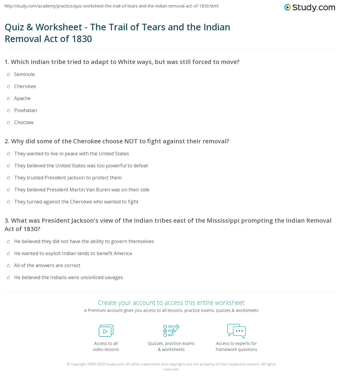 Quiz Worksheet The Trail of Tears and the Indian Removal Act – Trail of Tears Worksheet