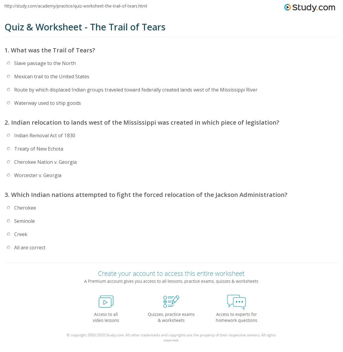 Quiz Worksheet The Trail of Tears – Trail of Tears Worksheet