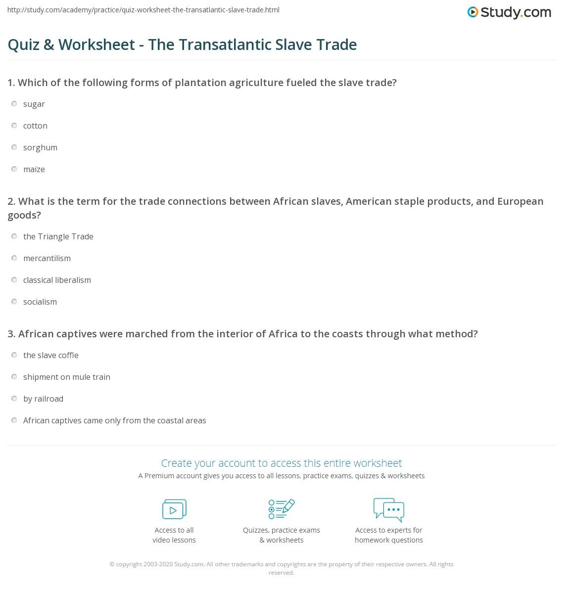 Quiz Worksheet The Transatlantic Slave Trade – Triangular Trade Worksheet