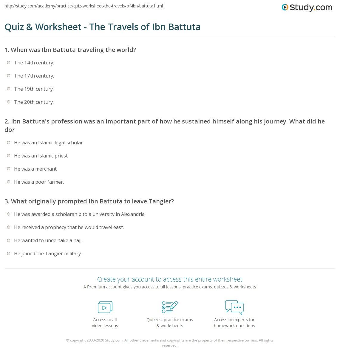 worksheet Ibn Battuta Worksheet quiz worksheet the travels of ibn battuta study com print facts worksheet