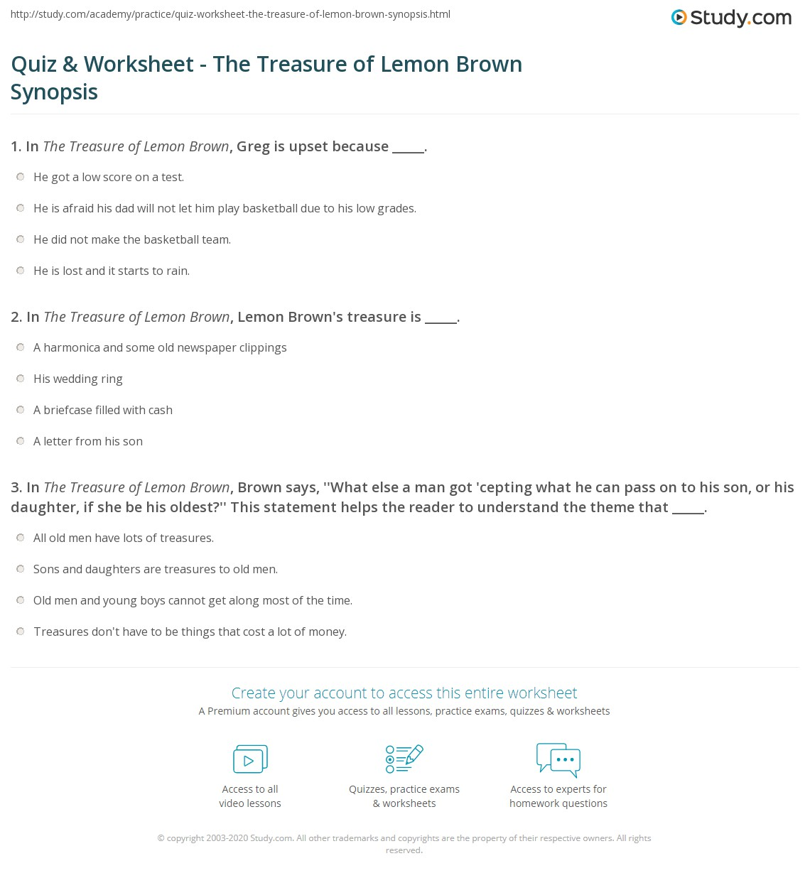 Quiz & Worksheet - The Treasure of Lemon Brown Synopsis | Study.com