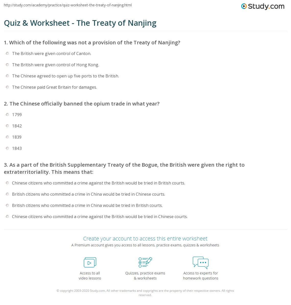 Worksheets Interpreting The Bill Of Rights Worksheet quiz worksheet the treaty of nanjing study com print summary effects worksheet