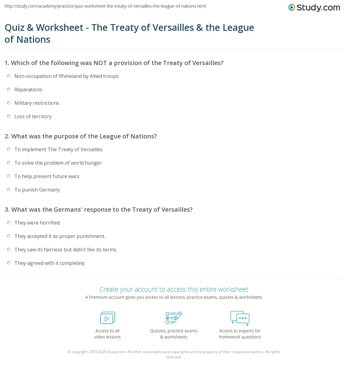 quiz worksheet the treaty of versailles the league of nations. Black Bedroom Furniture Sets. Home Design Ideas