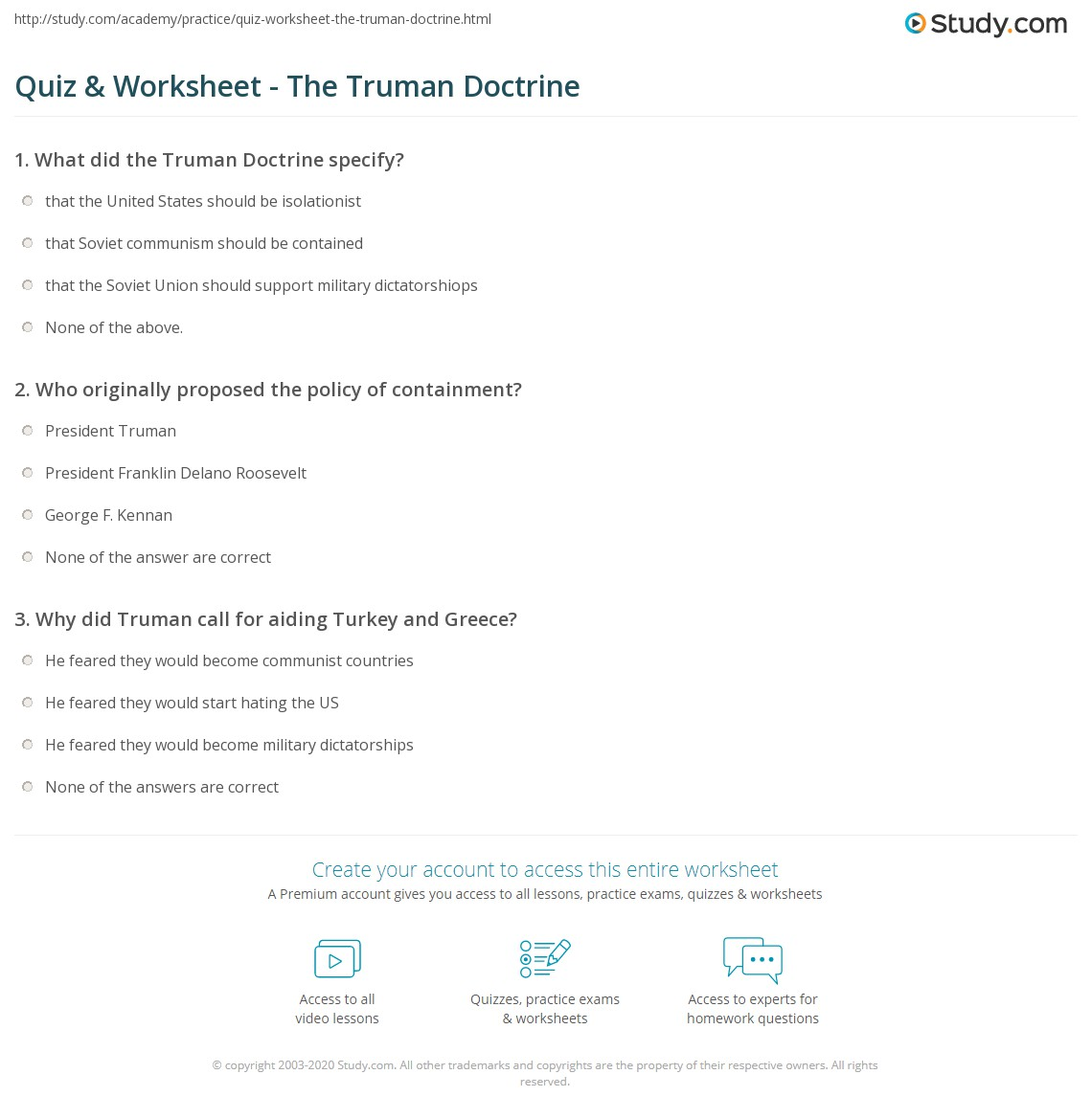 quiz worksheet the truman doctrine. Black Bedroom Furniture Sets. Home Design Ideas