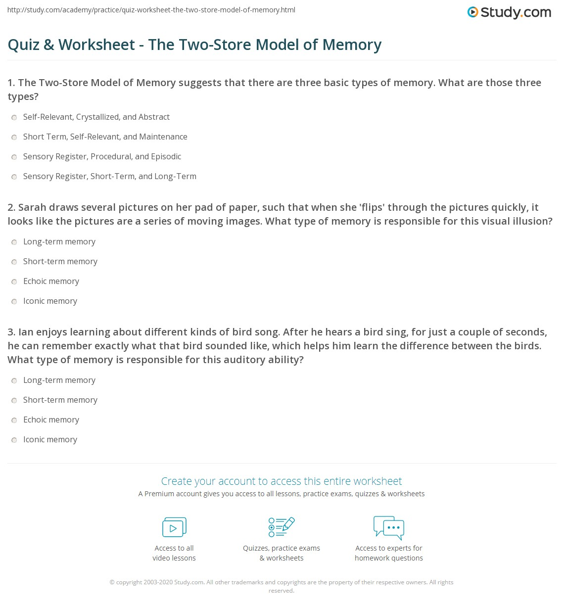 Quiz & Worksheet - The Two-Store Model of Memory | Study com