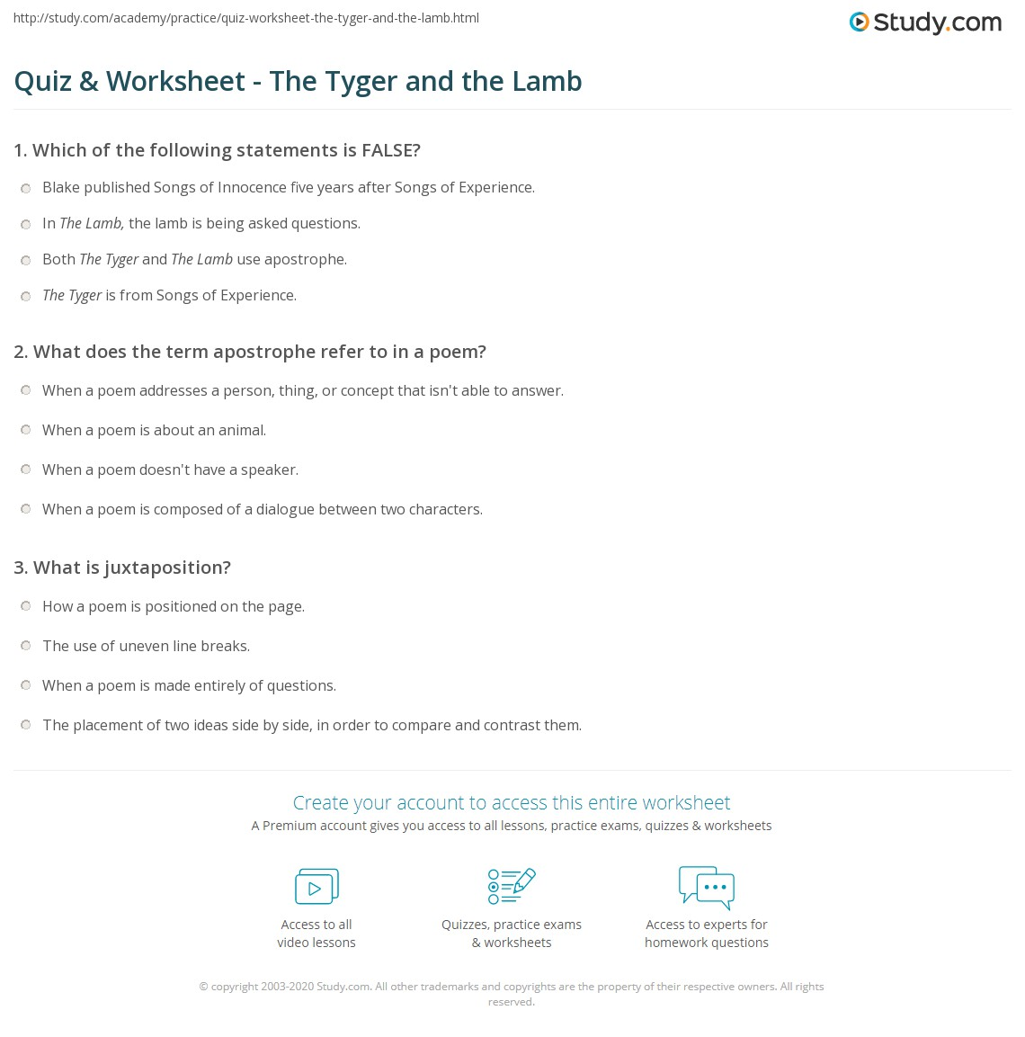 quiz worksheet the tyger and the lamb com print the tyger and the lamb summary analysis worksheet