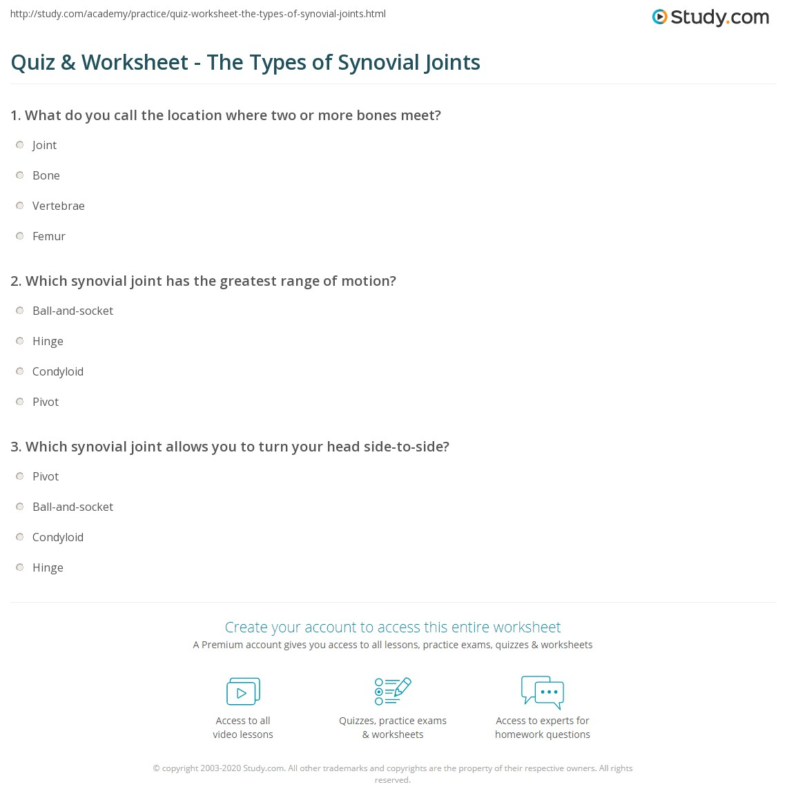 Quiz & Worksheet - The Types of Synovial Joints | Study.com