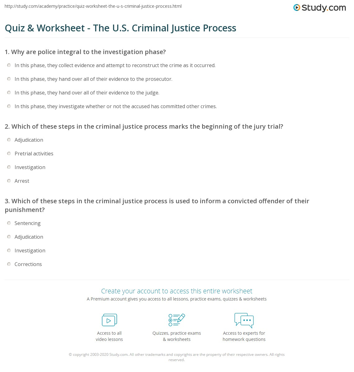quiz worksheet the u s criminal justice process. Black Bedroom Furniture Sets. Home Design Ideas