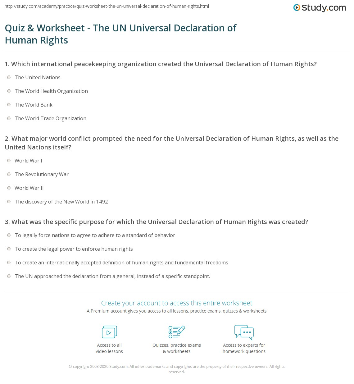Quiz & Worksheet - The UN Universal Declaration of Human Rights ...