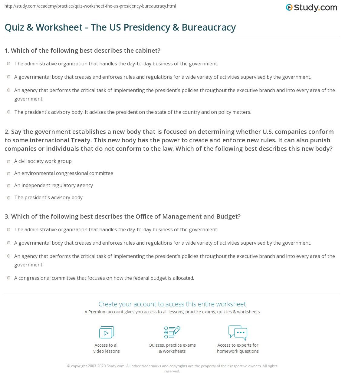 Quiz Worksheet The US Presidency Bureaucracy – Executive Branch Worksheet